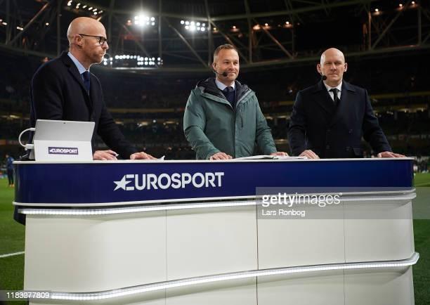 Zak Egholm, Lars Jacobsen and Thomas Gravesen of Eurosport prior to the UEFA EURO 2020 Qualifier match between Ireland and Denmark at Aviva Stadium...