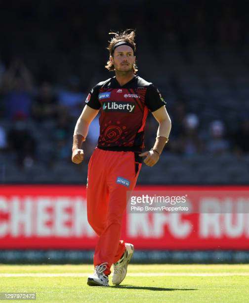 Zak Evans of Renegades celebrates after the dismissal of Max Bryant of Heat during the Big Bash League match between the Melbourne Renegades and the...