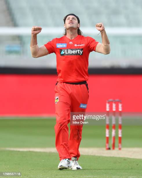 Zak Evans of the Renegades celebrates after dismissing Nathan Ellis of the Hurricanes during the Big Bash League match between the Melbourne...