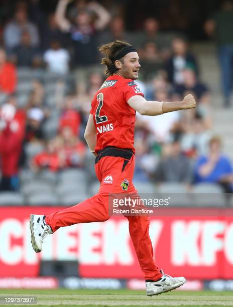 Zak Evans of the Renegades celebrates taking the wicket of Nathan Coulter-Nile of the Stars during the Big Bash League match between the Melbourne...
