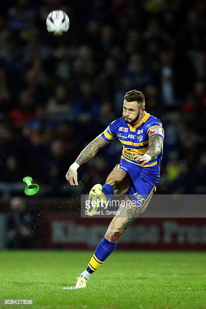 Zak Hardaker of Leeds Rhinos kicks the ball into play during the First Utility Super League opening match between Leeds Rhinos and Warrington Wolves...