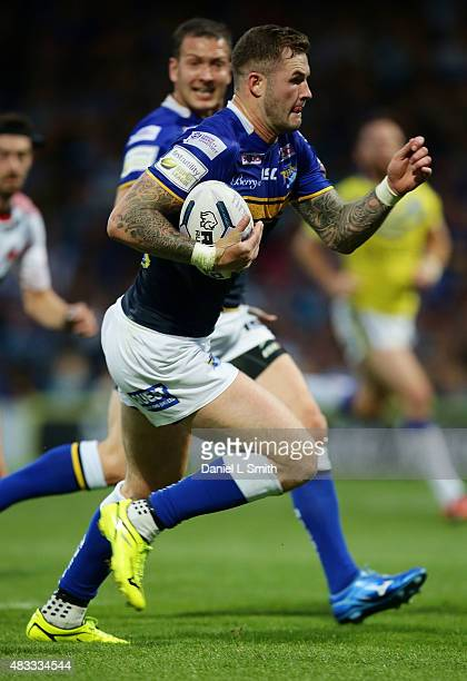 Zak Hardaker of Leeds Rhinos runs with the ball during the Round 1 match of the First Utility Super League Super 8s between Leeds Rhinos and...