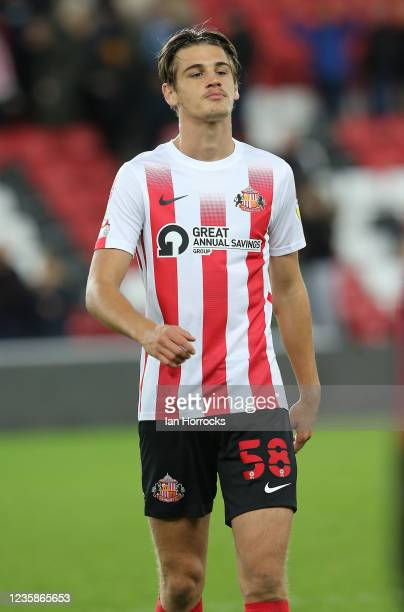 Zak Johnson of Sunderland during the Papa John's Trophy match between Sunderland and Manchester United at Stadium of Light on October 13, 2021 in...