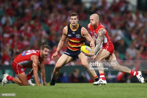 Zak Jones of the Swans handpasses during the round five AFL match between the Sydney Swans and the Adelaide Crows at Sydney Cricket Ground on April...