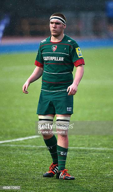 Zak Poole of Leicester during the Premiership Rugby/RFU U18 Academy Finals Day match between Leicester and Bath at The Allianz Park on February 16...