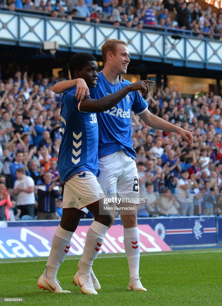 Zak Rudden of Rangers celebrates after scoring a goal in the second half of the game during the Pre-Season Friendly between Rangers and Bury at Ibrox Stadium on July 6, 2018 in Glasgow, Scotland.