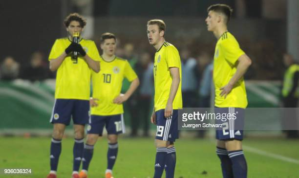 Zak Rudden of Scotland looks on when he stands near team mates during the Under 19 Euro Qualifier between Germany and Scotland on March 21 2018 in...
