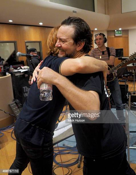 Zak Starkey and Eddie Vedder during rehearsals for The Who's 50th Anniversary Gig for The Teenage Cancer Trust at British Grove Studios on November...
