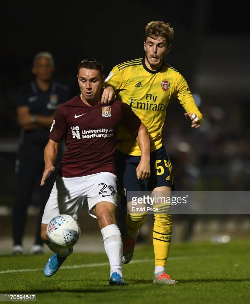 Zak Swanson of Arsenal closes down Billy Waters of Northampton during the Leasingcom match between Northampton Town and Arsenal U21 at PTS Academy...