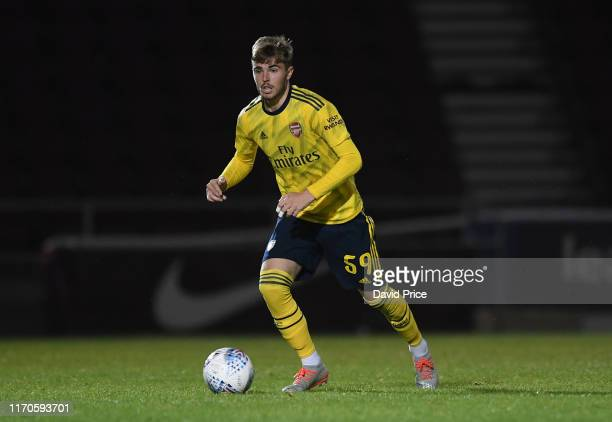 Zak Swanson of Arsenal during the Leasingcom match between Northampton Town and Arsenal U21 at PTS Academy Stadium on August 27 2019 in Northampton...