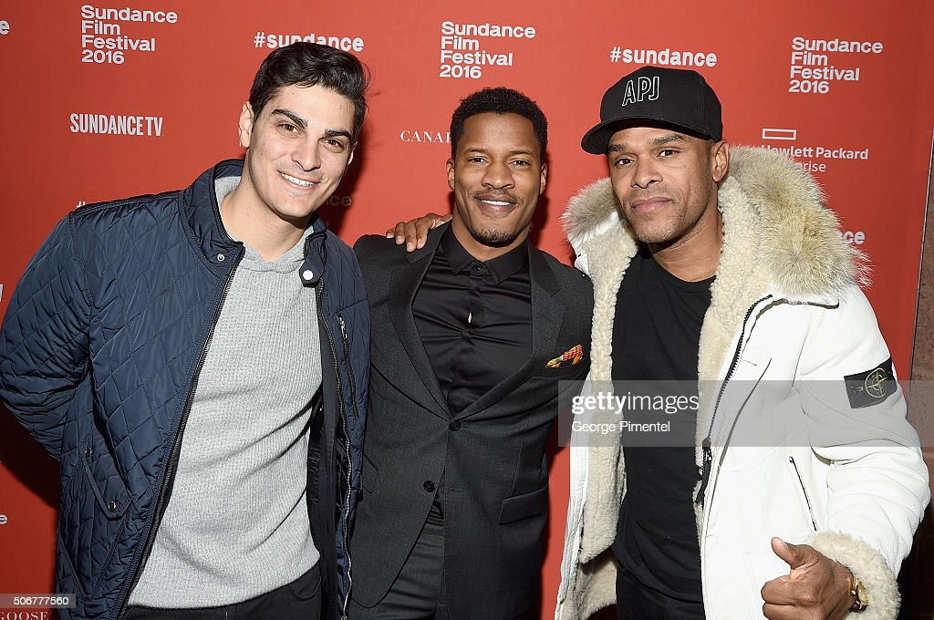 Zak Tanjeloff, Nate Parker, and Maxwell attend the 'The Birth Of A Nation' Premiere during the 2016 Sundance Film Festival at Eccles Center Theatre on January 25, 2016 in Park City, Utah.