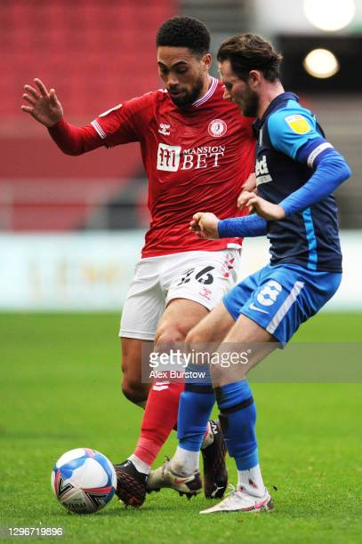 Zak Vyner of Bristol City tackles Alan Browne of Preston North End during the Sky Bet Championship match between Bristol City and Preston North End...