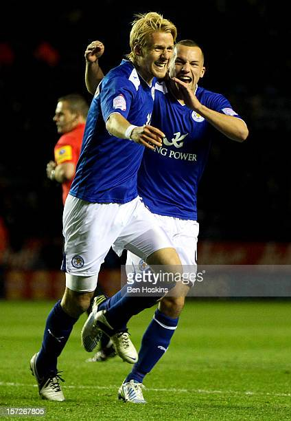 Zak Whitbread of Leicester celebrates after scoring the opening goal of the game during the npower Championship match between Leicester City and...