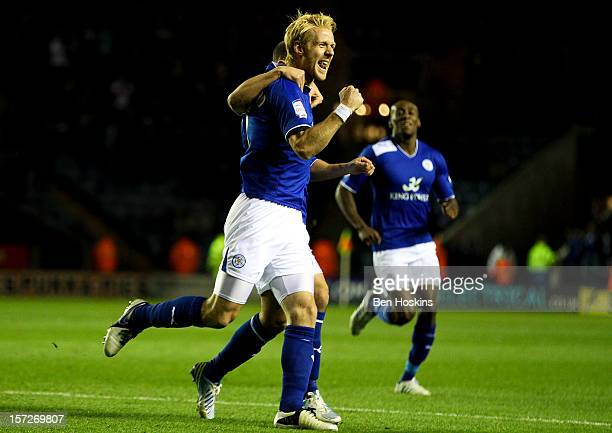 Zak Whitbread of Leicester celebrates scoring the opening goal of the game during the npower Championship match between Leicester City and Derby...