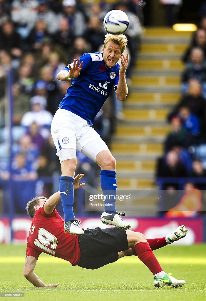 Zak Whitbread of Leicester heads the ball during the npower Championship match between Leicester City and Nottingham Forest at the King Power Stadium on November 10, 2012 in Leicester, England.