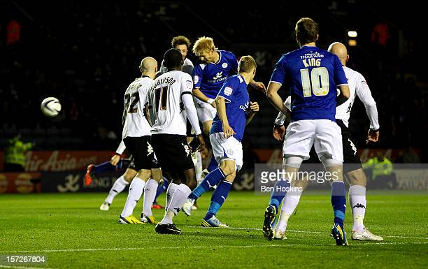 Zak Whitbread of Leicester scores the opening goal of the game during the npower Championship match between Leicester City and Derby County at the...