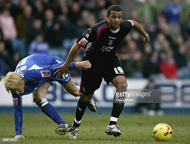 Zak Whitbread of Millwall battles for the ball with Tom Soares of Crystal Palace during the CocaCola Championship match between Millwall and Crystal...