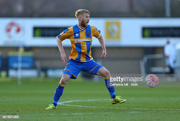 Zak Whitbread of Shrewsbury Town during the Emirates FA Cup match between Shrewsbury Town and Sheffield Wednesday at New Meadow on January 30 2016 in...