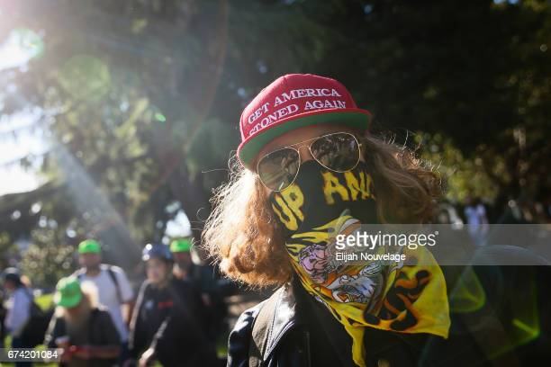 Zak who declined to give a last name of San Ramon poses for a photo at a conservative rally on April 27 2017 in Berkeley California Protestors...