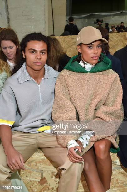 Zakari Kunakey and Tina Kunakey attend the Lacoste show as part of the Paris Fashion Week Womenswear Fall/Winter 2020/2021 on March 03 2020 in Paris...