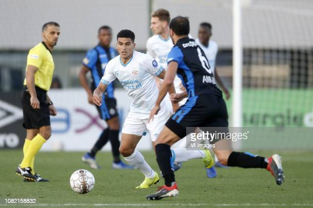 Zakaria Aboukhal of PSV Sofyan Amrabat of Club Brugge during the International Friendly match between PSV Eindhoven and Club Brugge KV at the Aspire...