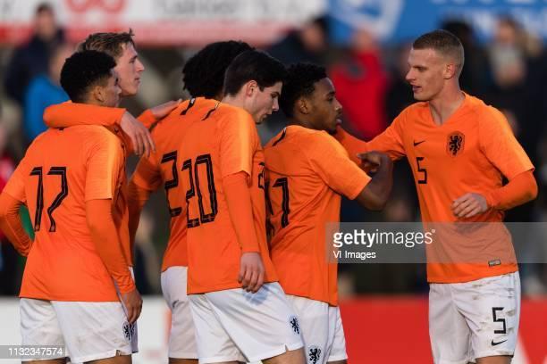 Zakaria Aboukhlal of Holland U19 Wouter Burger of Holland U19 Joshua Zirkzee of Holland U19 Jurgen Ekkelenkamp of Holland U19 Juan Familia Castillo...