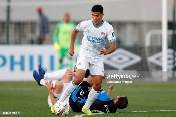 Zakaria Aboukhlal of PSV Sofyan Amrabat of Club Brugge during the Club Friendly match between PSV v Club Brugge on January 11 2019 in Doha Qatar