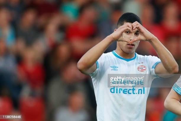 Zakaria Aboukhlal of PSV U23 celebrates 11 during the Dutch Keuken Kampioen Divisie match between Go Ahead Eagles v PSV U23 at the De Adelaarshorst...