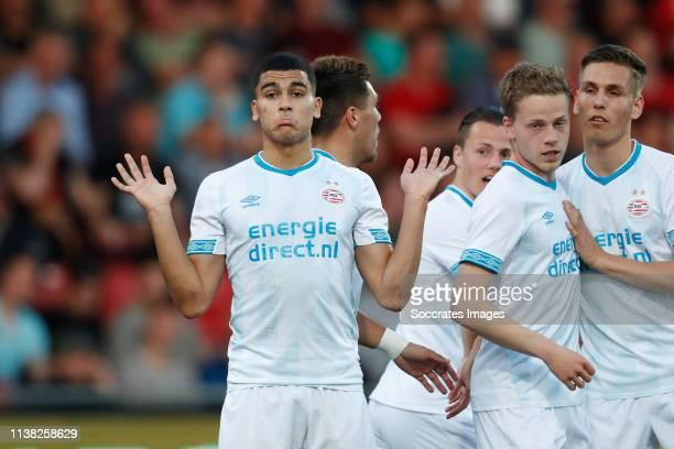 Zakaria Aboukhlal of PSV U23 celebrates 11 with Dante Rigo of PSV U23 Steven Theunissen of PSV U23 during the Dutch Keuken Kampioen Divisie match...