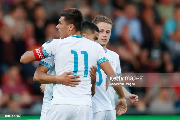 Zakaria Aboukhlal of PSV U23 celebrates 11 with Joel Piroe of PSV U23 Dante Rigo of PSV U23 during the Dutch Keuken Kampioen Divisie match between Go...