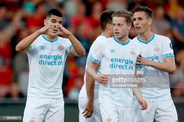 Zakaria Aboukhlal of PSV U23 celebrates with Dante Rigo of PSV U23 Steven Theunissen of PSV U23 during the Dutch Keuken Kampioen Divisie match...