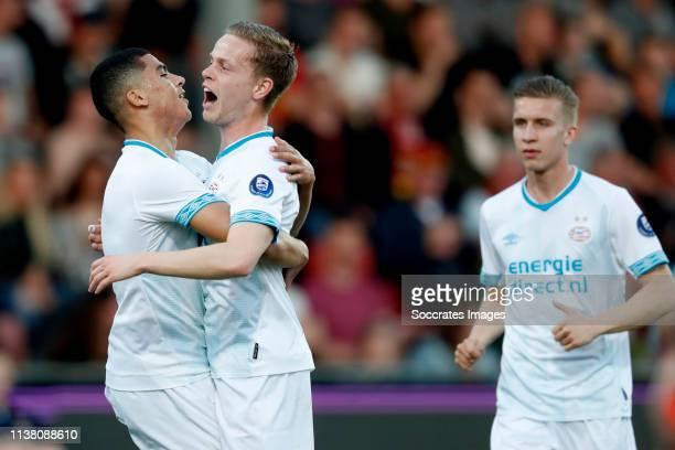 Zakaria Aboukhlal of PSV U23 celebrates with Dante Rigo of PSV U23 during the Dutch Keuken Kampioen Divisie match between Go Ahead Eagles v PSV U23...