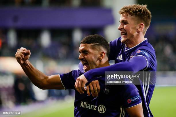Zakaria Bakkali of Anderlecht celebrates his goal the 20 during the UEFA Europa League match between Anderlecht v Fenerbahce at the Constant Vanden...