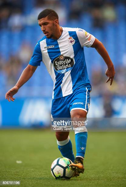 Zakaria Bakkali of Deportivo de La Coruna controls the ball during the Pre Season Friendly match between Deportivo de La Corua and West Bromwich...