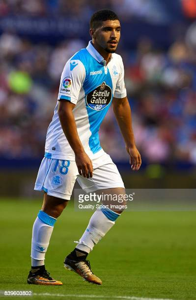 Zakaria Bakkali of Deportivo looks on during the La Liga match between Levante and Deportivo La Coruna at Ciutat de Valencia on August 26 2017 in...