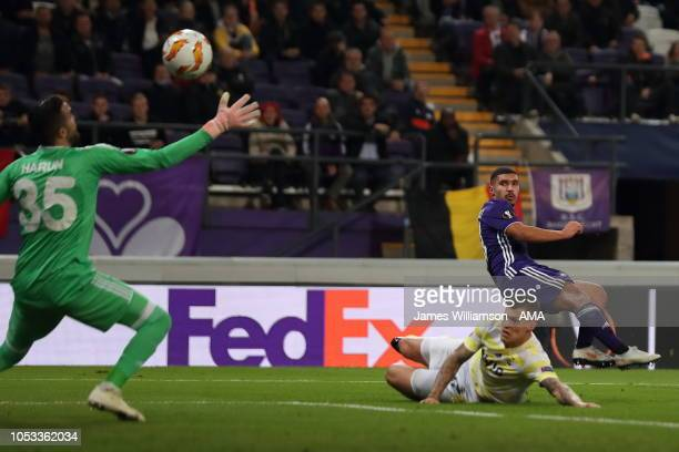 Zakaria Bakkali of RSC Anderlecht scores a goal to make it 10 during the UEFA Europa League Group D match between RSC Anderlecht and Fenerbahce at...
