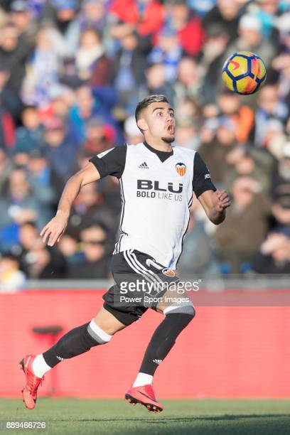 Zakaria Bakkali of Valencia CF in action during the La Liga 201718 match between Getafe CF and Valencia CF at Coliseum Alfonso Perez on 03 December...