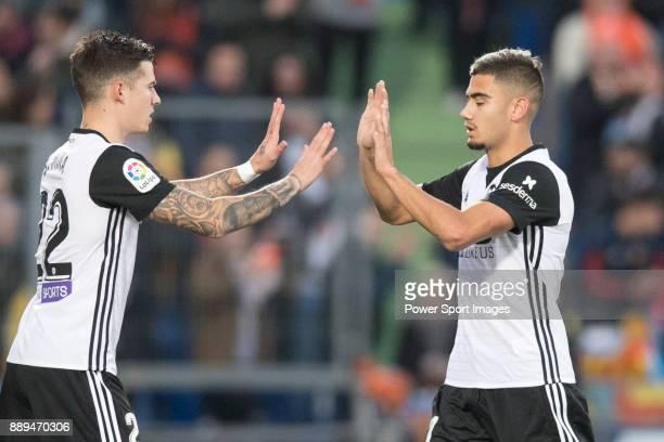 Zakaria Bakkali of Valencia CF replacing Santiago Mina Lorenzo Santi Mina of Valencia CF during the La Liga 201718 match between Getafe CF and...