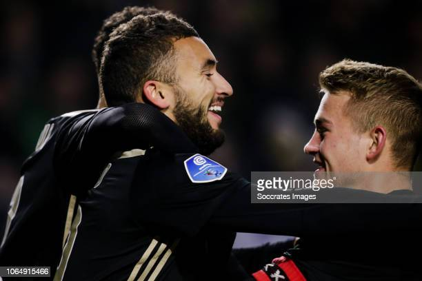 Zakaria Labyad of Ajax celebrate his goal the 02 with Matthijs de Ligt of Ajax during the Dutch Eredivisie match between NAC Breda v Ajax at the Rat...