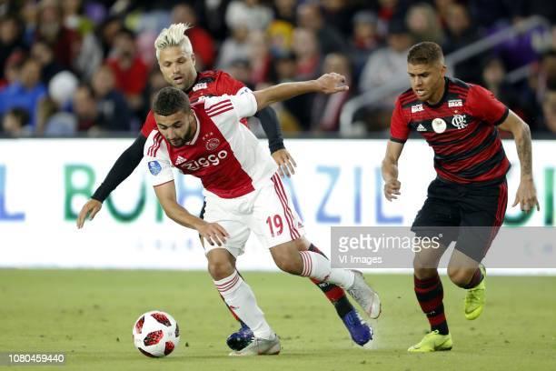 Zakaria Labyad of Ajax Diego of Clube de Regatas do Flamengo Gustavo Cuellar of Clube de Regatas do Flamengo during the Florida Cup 2019 match...