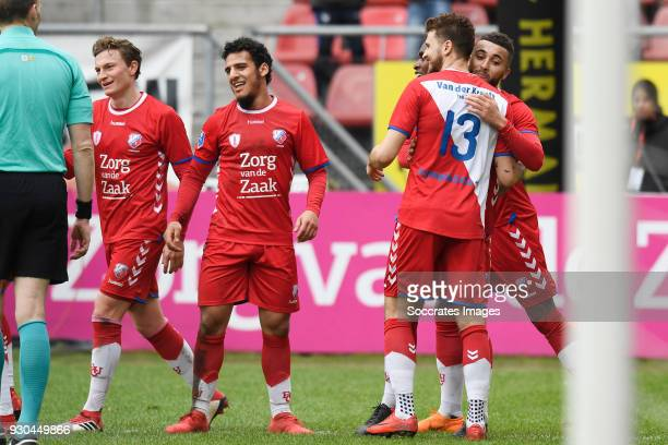 Zakaria Labyad of FC Utrecht celebrates 20 with Rico Strieder of FC Utrecht Yassin Ayoub of FC Utrecht Mateusz Klich of FC Utrecht Gyrano Kerk of FC...
