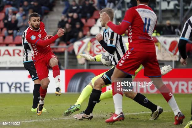 Zakaria Labyad of FC Utrecht goalkeeper Bram Castro of Heracles Almelo Wout Droste of Heracles Almelo Cyriel Dessers of FC Utrecht during the Dutch...