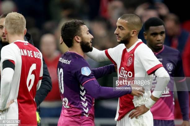 Zakaria Labyad of FC Utrecht Hakim Ziyech of Ajax during the Dutch Eredivisie match between Ajax v FC Utrecht at the Johan Cruijff Arena on November...
