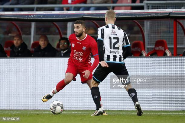 Zakaria Labyad of FC Utrecht Wout Droste of Heracles Almelo during the Dutch Eredivisie match between FC Utrecht and Heracles Almelo at the...