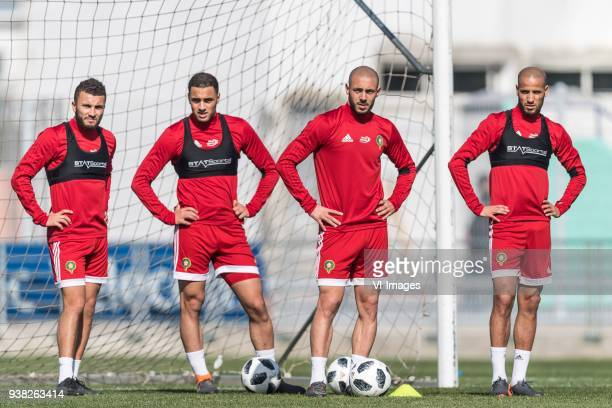 Zakaria Labyad of Morocco Sofyan Amrabat of Morocco Nordin Amrabat of Morocco Karim El Ahmadi of Morocco during a training session prior to the...