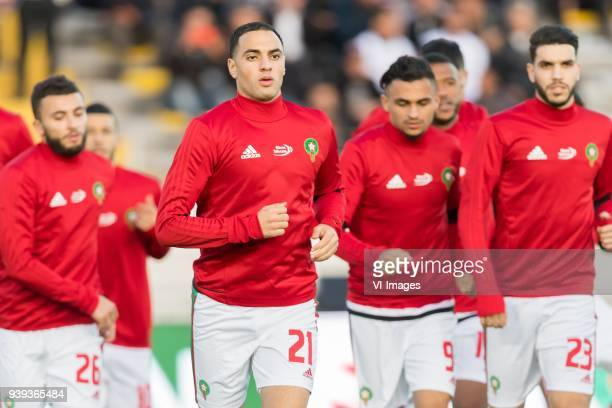 Zakaria Labyad of Morocco Sofyan Amrabat of Morocco Sofiane Boufal of Morocco Oualid Azarou of Morocco during the international friendly match...
