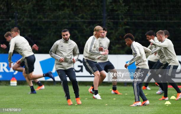 Zakaria Labyad takes part in a drill with team mates during an Ajax training session on the eve of their UEFA Champions League semi final against...