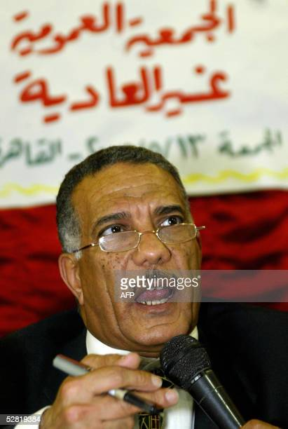 Zakariya Ahmed Abdul Aziz head of the Egyptian Judge's Club speaks during a stormy emergency meeting of judges convened to sustain pressure on the...