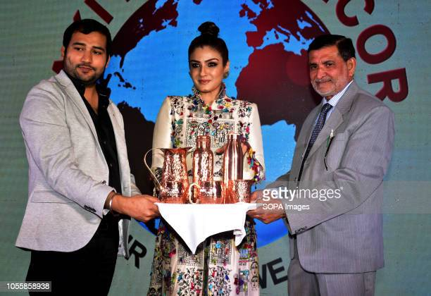Zaki Ahmed Indian film actress Raveena Tandon and Zulfikar Ahmed seen at the launch of Zaki Home Decor products in India at hotel JW Marriott juhu in...