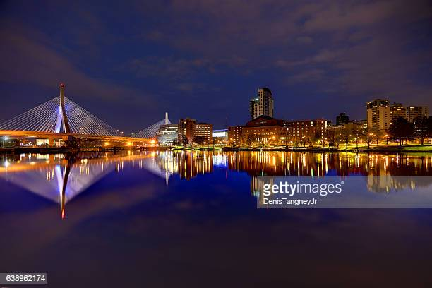 zakim bridge reflection on the charles river in boston - boston stock pictures, royalty-free photos & images